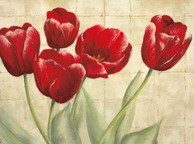 Mckee Lauren - Red Tulips on Ivory