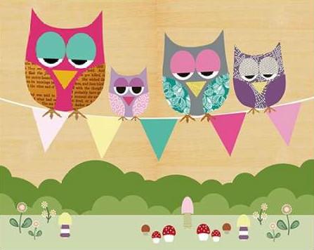 Schoen Claudia - Flag Banner Owls