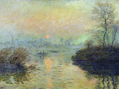 Claude Monet - Sun Setting over the Seine at Lavacourt