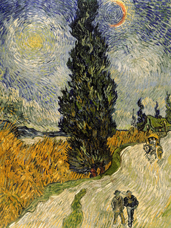 Vincent Van Gogh – Road with Cypresses (detail)