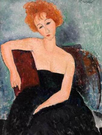 Amedeo Modigliani – Jeune fille rousse en robe de soir (detail)