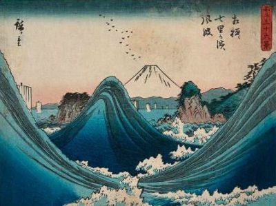 Ando Hiroshige – Mount Fuji seen through the waves at Manazato no hama