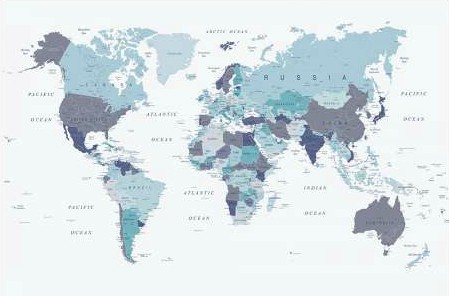 Urban Epiphany - World Map Blue 1