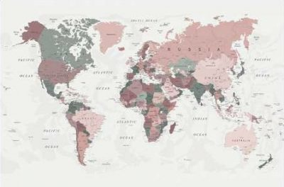 Urban Epiphany – World Map Pink Green 2