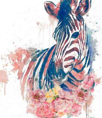 Pinto Patricia – Floral Watercolor Zebra