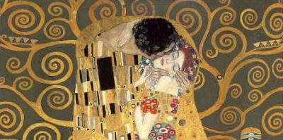 Gustav Klimt – The Kiss detail (Grey variation)