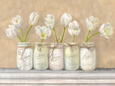 Jenny Thomlinson – White Tulips in Mason Jars