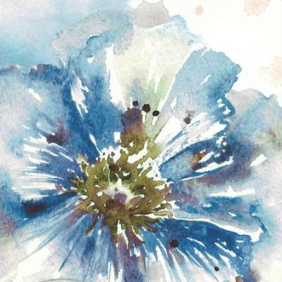 Tre Sorelle Studios – Blue Watercolor Poppy Close Up I
