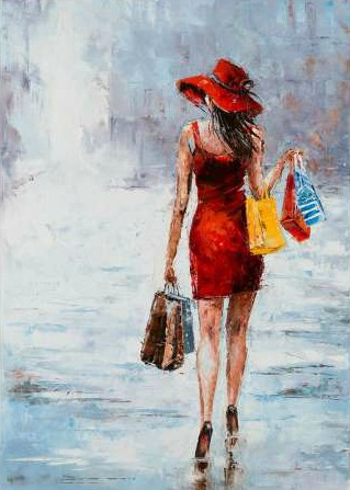 Kowalik Jolanta – Shopping Girl in Red