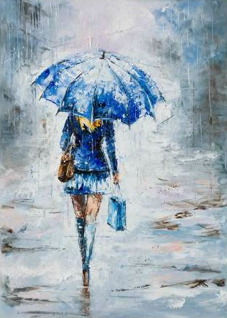 Kowalik Jolanta - Lady in Blue with Umbrella
