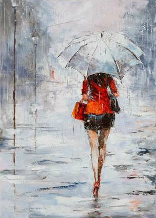 Kowalik Jolanta – Lady in Red with Umbrella